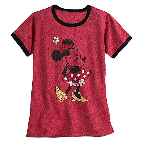 Ladies Heathered Ringer Tee - Disney Minnie Mouse Classic Ringer Tee for Women Size Ladies XS Red