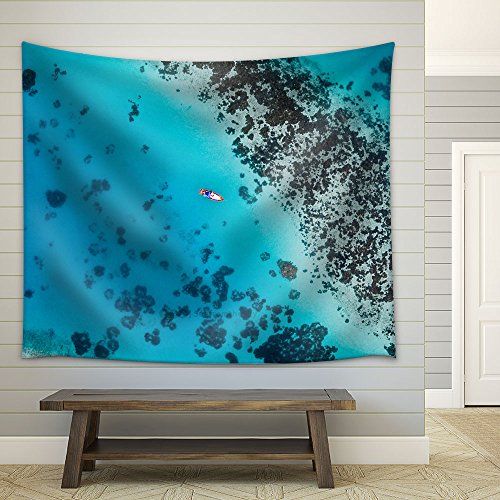 Eagle Eye View Boat in the Blue Ocean Fabric Wall