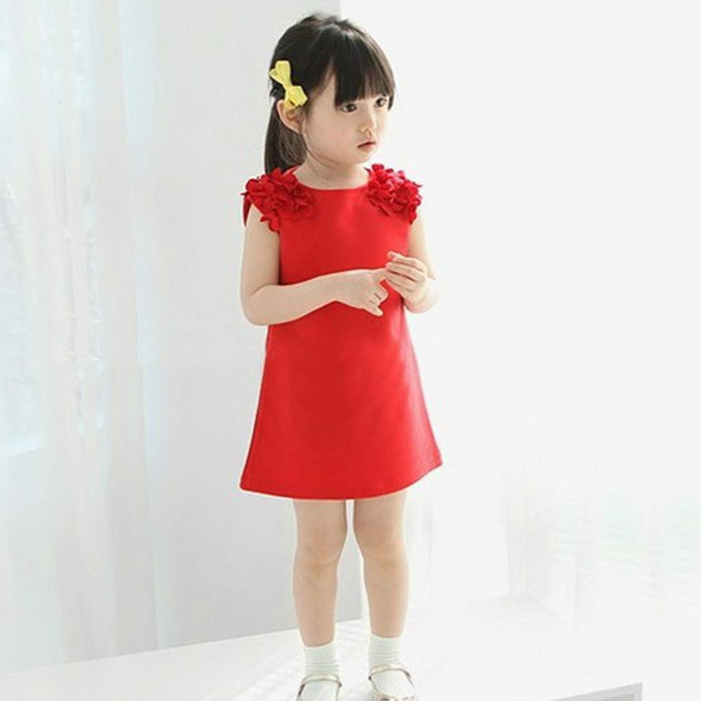 Toddler Girls Flower Sleeveless Casual Dresses Solid Color Jersey Dresses Sundress Summer Girl Clothes (Age: 5-6Years, Red) by FDSD Baby Clothes (Image #4)