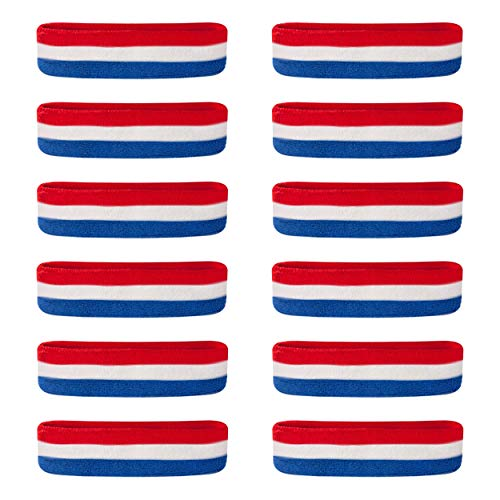 Suddora Sweatbands/Headbands - Terry Cloth Athletic Basketball Head Sweat Bands (Bulk 12-Pack) (Red White Blue)