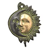 IndianShelf Set of 4 Handcrafted Artistic Bronze Brass Sun Moon Half Face Vintage holders hooks hangers Wall Coats Towels Keys Clothes Hats Bathroom Kitchen Mounted Vintage Utility Classic Solid