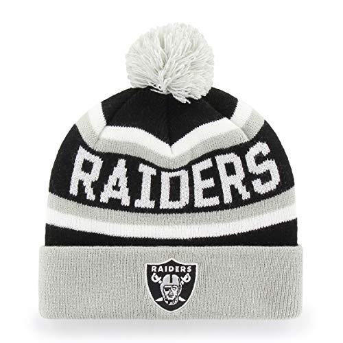 NFL Oakland Raiders Jasper OTS Cuff Knit Cap with Pom, Black, One Size