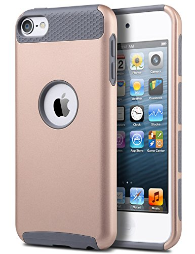 iPod Touch 6 Case,iPod 6 Case,iPod 5 Case,ULAK [Colorful Series] Slim Fit Protective iPod Touch Case 2-Piece Style Hybrid Hard Case Cover for Apple iPod touch 5 6th Generation(Rose Gold + Grey) - Ipod 5 Colorful Cases For Girls