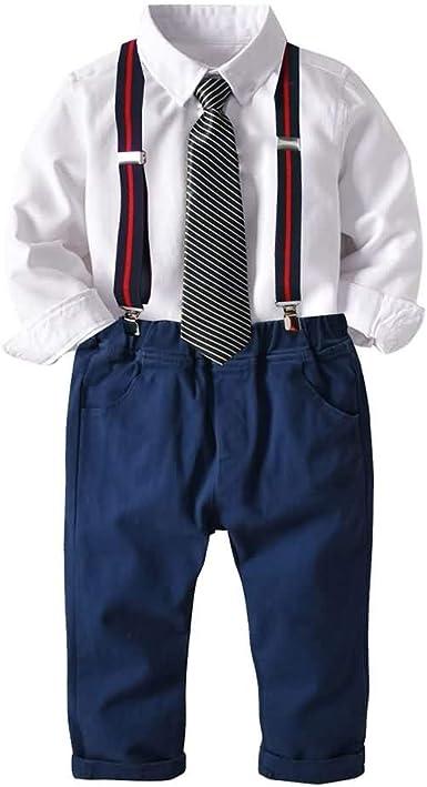 Conjunto de Dos Piezas para Niño, Corbata/Pajarita Camisa de Manga Larga + Pantalones de Tirantes, 1-6 Años #033: Amazon.es: Ropa y accesorios