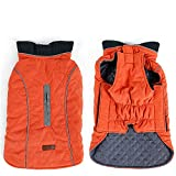 HuoGuo Dog Clothes Quilted Dog Coat Water Repellent Winter Dog Pet Jacket Vest Retro Cozy Warm Pet Outfit Clothes Big Dogs orange XS Review