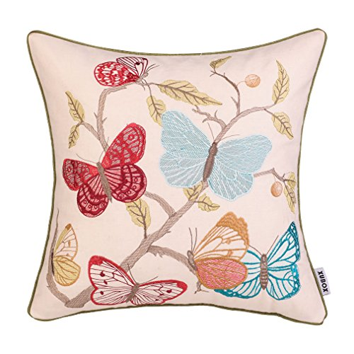 Embroidered Vintage Pillowcase - Xubox Embroidered Throw Pillow Covers, Vintage 7 Colorful Butterfly Home Decor Embroidery Cotton Linen Square Decorative Pillow Case Cushion Cover Pillowcase Sham 18