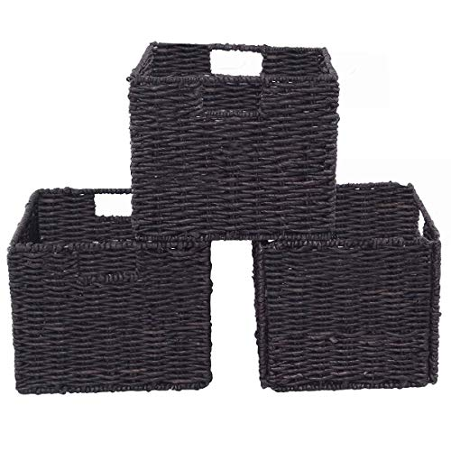 USA_Best_Seller New Set of 3 Folding Cube Rattan Storage Organizer Stable Baskets Sturdy Durable Modern Home Bedroom Toys Kids Room Foldable Long Lasting Use