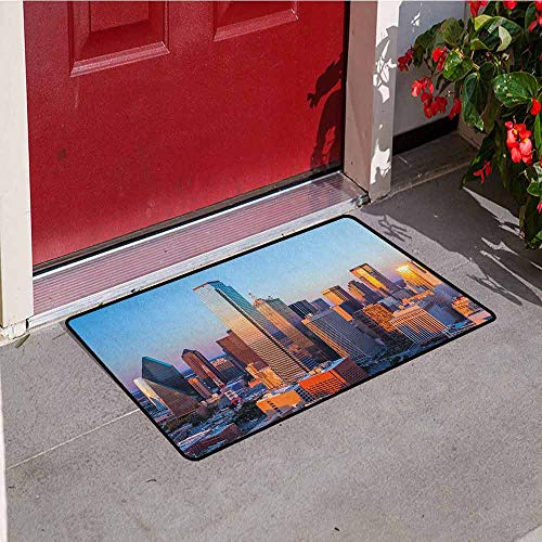 GloriaJohnson United States Commercial Grade Entrance mat Dallas Texas City with Blue Sky at Sunset Metropolitan Finance Urban Center for entrances garages patios W23.6 x L35.4 Inch Multicolor -