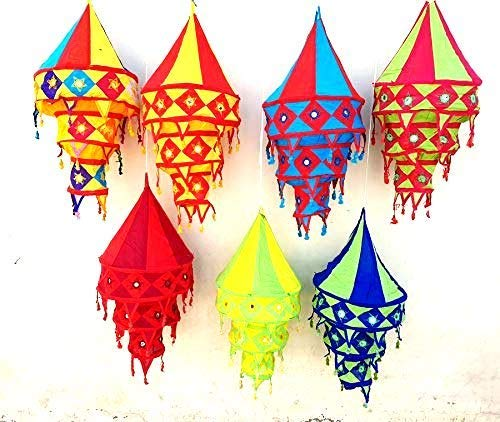 5 Pcs Wholesale Lot Assorted Indian Decoration Cotton Lanterns Hollow Inside Lamps Collapsible Lightshades Colorful Vintage Home -