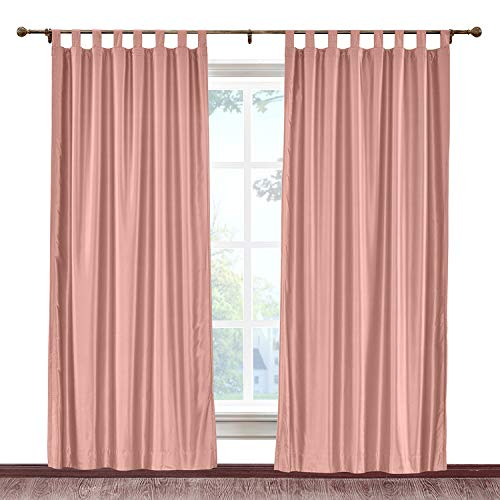 cololeaf Faux Dupioni Silk Curtain Tab Top Light Reducing Window Curtain Panels for Bedroom Living Room Satin Drapes Privacy Window Treatments, Coral 84