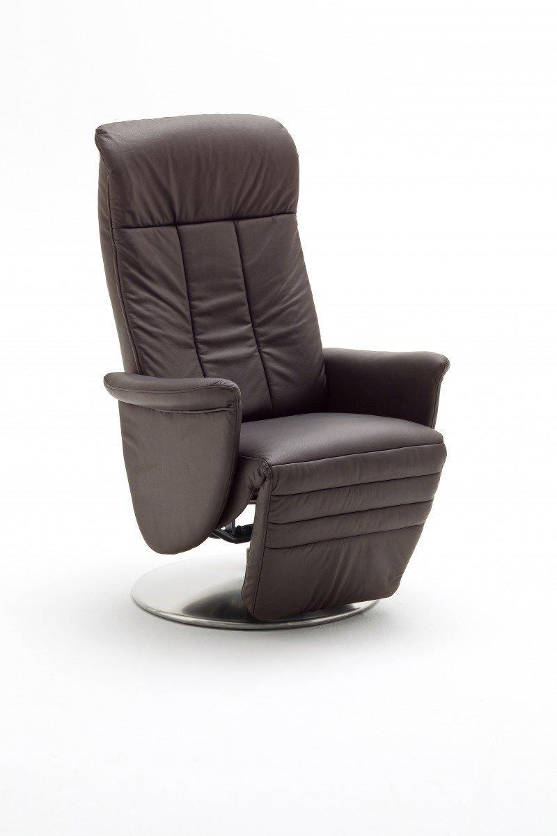 Dreams4Home Ledersessel 'Daniel' Relaxsessel Leder Wohnzimmer Sessel Relaxer TV-Sessel, Farbe:Schwarz