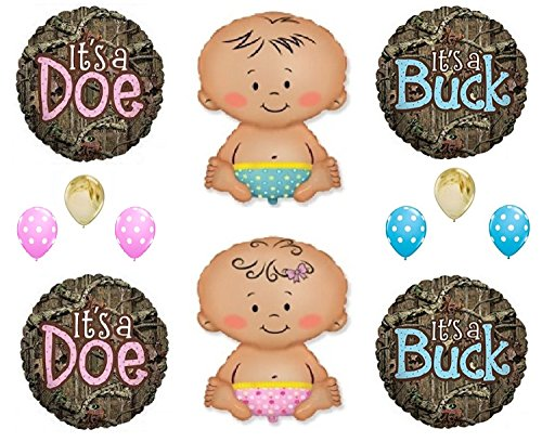 Gender Reveal It's A Buck Baby Boy Doe Baby Girl Mossy Oak Camouflage Shower Balloon Decorations Supplies (Camoflage Party Supplies)