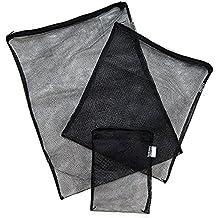 """Aquarium Media Filter Bag for Ammonia Remover, Bio-ball, Ceramic Ring, Pellet Carbon, 3-pack (Black, 8"""" x 5.5"""")"""