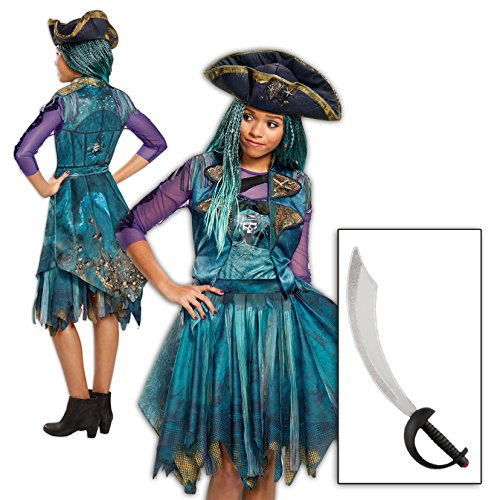 BirthdayExpress Uma Costume Descendants 2 Disney Girls Classic Isle with Wig and Sword Kit (Maleficent Costume Makeup Kids)