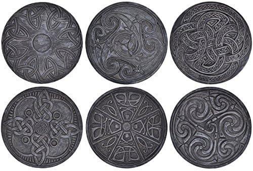 Conjunto De Seis pintado a mano redondo Diseño Celta mesa o ...