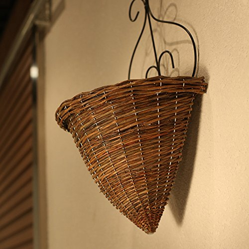 Kingwillow Hanging Basket Wicker Woven Hanging Flower Pot