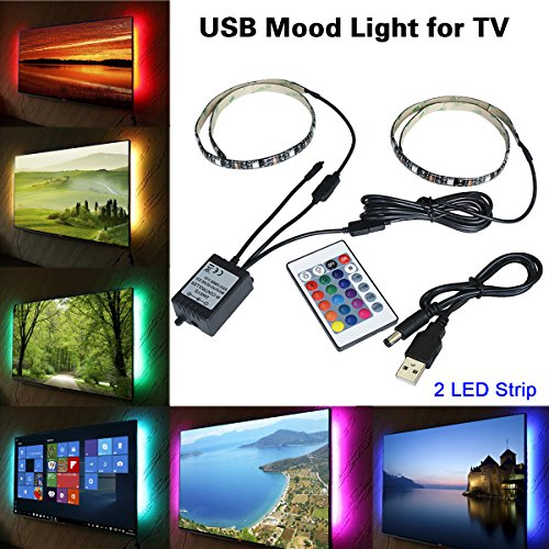 WESIRI Bias Lighting for HDTV USB Powered TV Backlighting Home Theater Accent lighting Kit With Remote Control RGB Multi Color LED Light Strip For TV Desktop PC