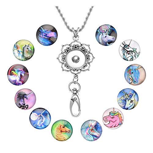 Souarts Womens Office Lanyard ID Badges Holder Necklace with 12pcs Horse Pattern Glass Snap Jewelry Charms Pendant ()