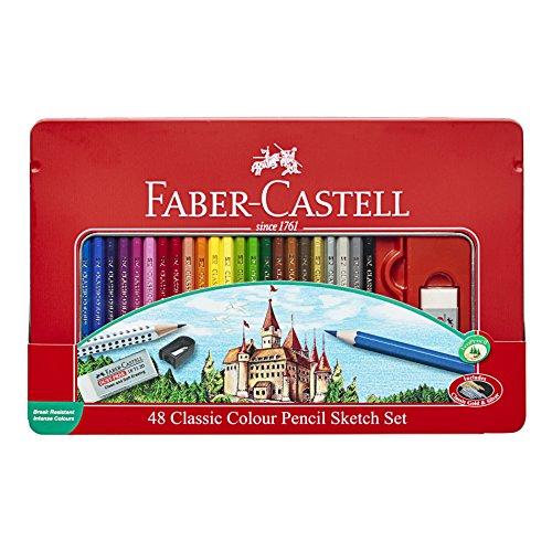 Faber Castell Classic Colored Pencils Tin Set, 36 Vibrant Co