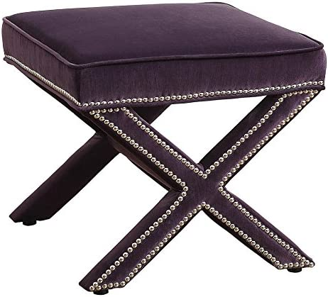 Tov Furniture The Reese Collection Velvet Upholstered Wood Square Living Room Foot Rest Ottoman