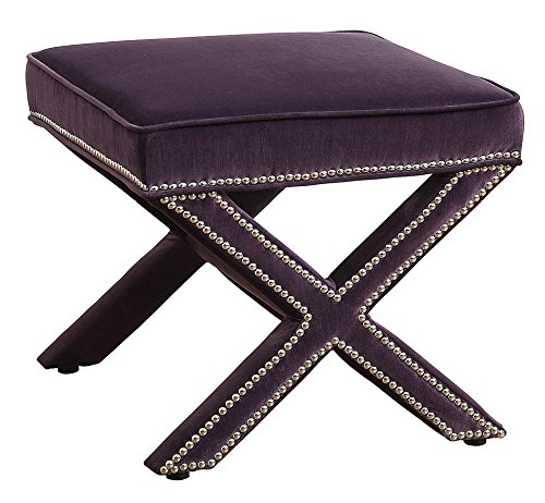 Tov Furniture The Reese Collection Velvet Upholstered Wood Square Living Room Foot Rest Ottoman, Purple