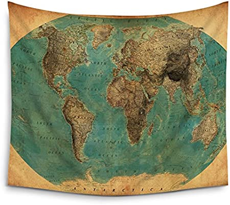Amazon world map tapestry home decor by mugod old fashioned map amazon world map tapestry home decor by mugod old fashioned map wall tapestry hanging polyester fabric wall art tapestries 51h x 60w inches home gumiabroncs Images