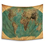 Mugod World Map Tapestry Home Decor Old-Fashioned Map Wall Tapestry Hanging - Polyester Fabric Wall Art Tapestries - 51'' H x 60'' W inches