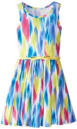 The Childrens Place Big Girls Knit Printed Skater Dress with Belt Nightfall Medium7-8