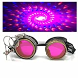 Steampunk Victorian Style Goggles with Compass Design, UV Glow in The Dark Neon Pink Rave Diffraction Glasses Spiral Lenses