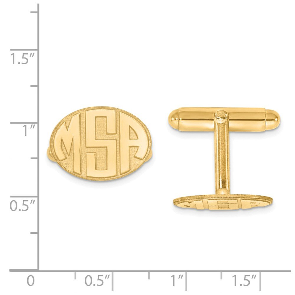 Raised Letters Oval Monogram Cuff Links Custom Personalized in Gold-plated Sterling Silver from Roy Rose Jewelry