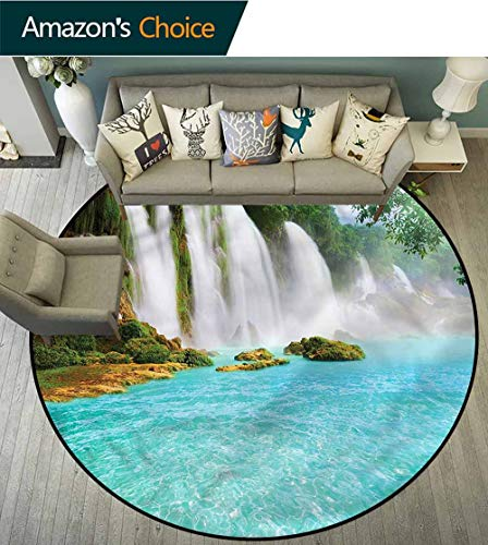 RUGSMAT Waterfall Art Deco Pattern Non-Slip Backing Washable Round Area Rug,Tropical Waterscape Pool Pattern Floor Seat Pad Home Decorative Indoor Diameter-71