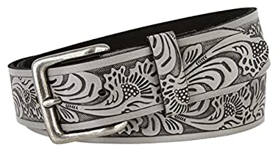 """Floral Western Embossed Leather Belt Strap w/Snaps for Interchangeable Buckles 1 1/2"""" Wide"""