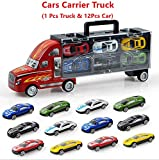 Finlon Transport Car Carrier Truck Boys Toy (Includes Alloy Metal 12 Cars) for Kids Children