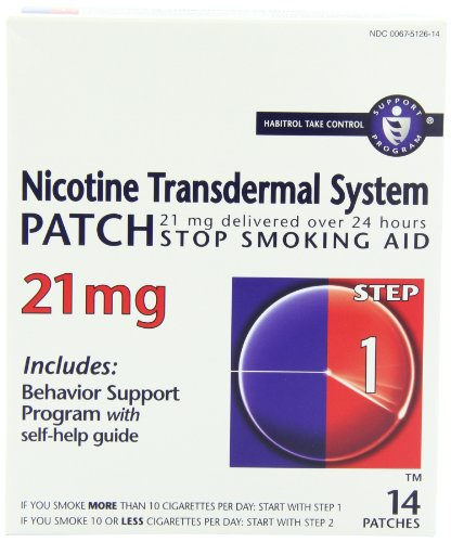 - Nicotine Transdermal System Patch, Stop Smoking Aid, 21 mg, Step 1, 14 patches