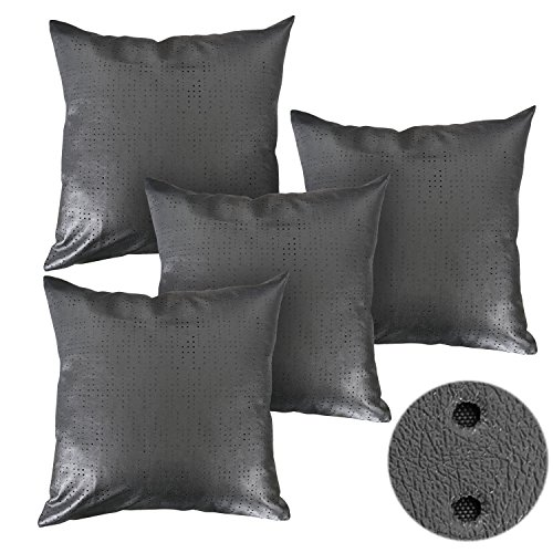 Deconovo Decorative Couch Pillows Hollow Out Solid Faux Leat