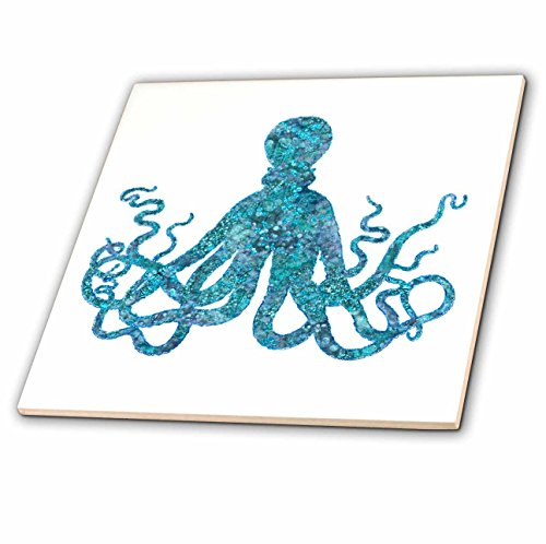 3dRose Andrea Haase Animals Illustration - Turquoise Blue Glamorous Octopus Art - 6 Inch Ceramic Tile (ct_282455_2) by 3dRose