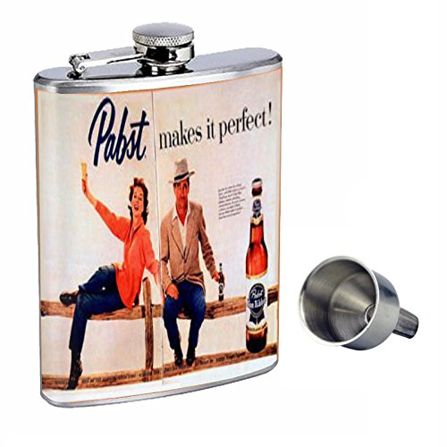 8 Ounce Ribbon (Pabst Blue Ribbon Beer Western Perfection In Style 8oz Stainless Steel Whiskey Flask with Free Funnel D-443)