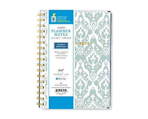 "Dabney Lee for Blue Sky 2017-2018 Academic Year Weekly & Monthly Planner with Notes, Twin-Wire Bound, 5.8"" x 6.2"", Blue Elsie"