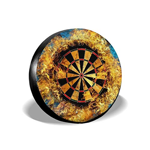 Dreamfy Flaming Dartboard Sports Game Waterproof Polyester Wheel Spare Tire Cover Fits 14