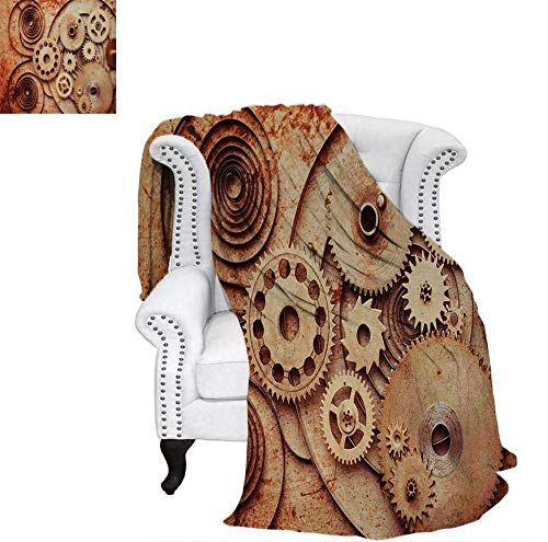 Custom Design Cozy Flannel Blanket Mechanical Clocks Details Old Rusty Look Backdrop Gears Steampunk Design Lightweight Blanket 80