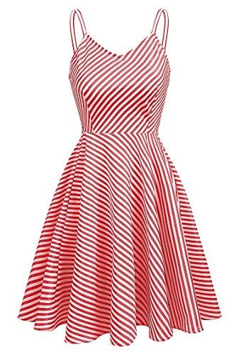 Meaneor Damen Vintage Kleid Sommer Gestreiftes Kleid Trägerkleid ...