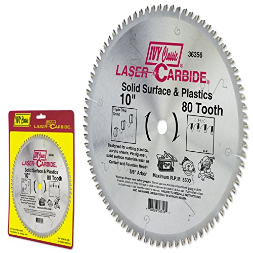 - IVY Classic 36356 Laser Carbide 10-Inch 80 Tooth Solid Surface and Plastic Cutting Circular Saw Blade with 5/8-Inch Arbor, 1/Card