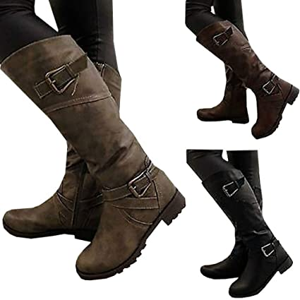 cc411162568 Amazon.com  maket Women Fashion Winter Low Heel Belt Buckle Riding Leather  Boots Knee High(us 5-12)(Please Choose One Size Bigger Than Usual)  Home    ...