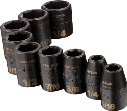 Craftsman 9-15880 6 Point 3/8-Inch Drive Standard Easy to Read Impact Socket Set, 9-Piece