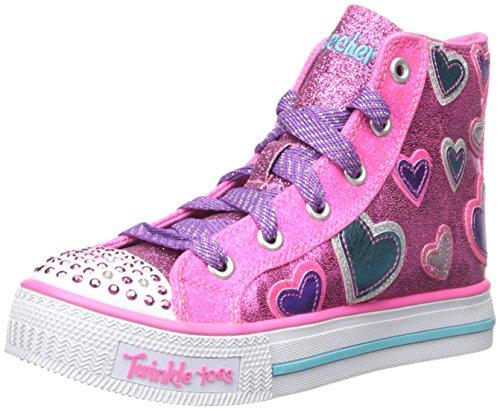 Skechers Twinkle toes Shuffles STARLET POSE, pink/türkis mit Sternen und blinkenden Steinchen