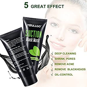 Black Mask Blackhead Remover, Facial Masks Peel Off, Suction Cleaner Black Mask Tearing Resist Oily Skin Strawberry Nose Purifying Deep Cleansing, with 2 free nose masks