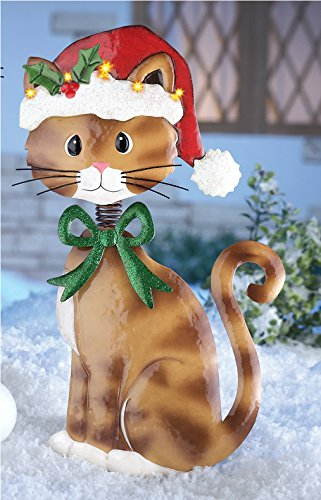 Adorable christmas brown tabby kitty cat lighted santa hat for Christmas cat yard decorations