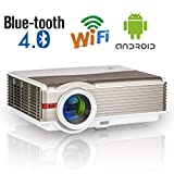 High Resolution 5000 Lumen LCD Wireless Bluetooth Video Projector Support Full HD 1080P Multimedia LED Android WiFi Projector HDMI USB VGA AV Audio Compatible with Roku Stick Xbox PC Phones TV Box