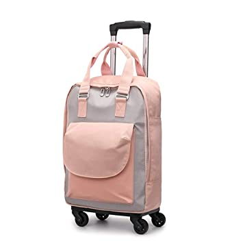 Mochila con Ruedas, Trolley Impermeable, Mochila Escolar De Viaje, Ruedas, Mochila De Viaje, Hombres Y Mujeres (Color : Pink, Tamaño : Metro): Amazon.es: ...
