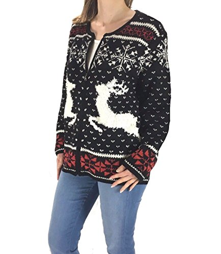J Jill - Women's - Nordic Reindeer Cardigan Sweater (Medium) from J Jill